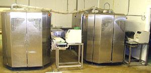 Горизонтальный упаковочный автомат для упаковки лотков с продуктами в газовой среде