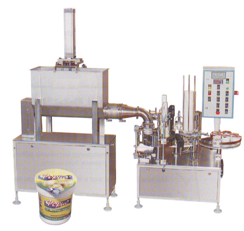 аппарат АФ-1500 для дозированного розлива и упаковки жидких, пастообразных и труднотекучих пищевых продуктов в стаканчики. Нажмите для просмотра.